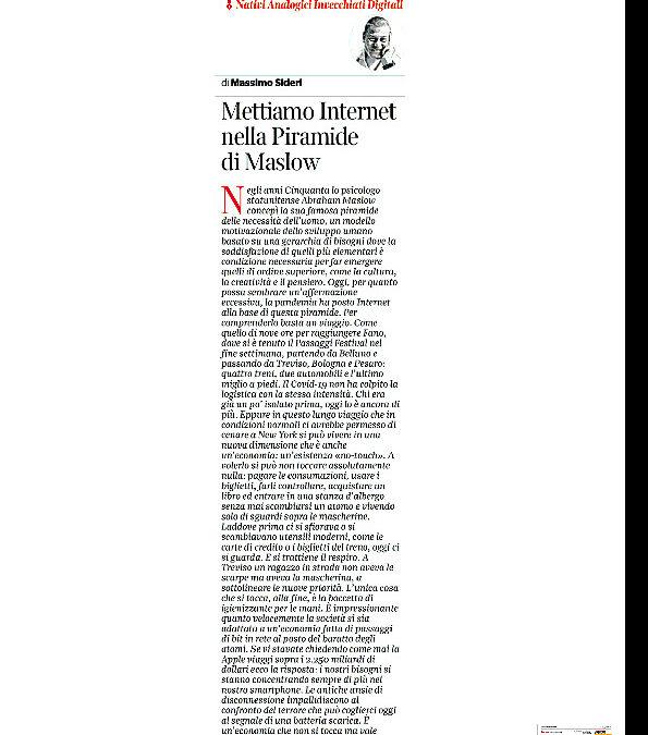 Corriere della Sera – Mettiamo Internet nella Piramide di Maslow