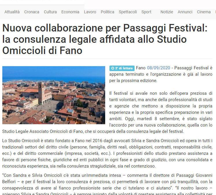 Vivere Fano – Nuova collaborazione per Passaggi Festival: la consulenza legale affidata allo studio Omiccioli di Fano