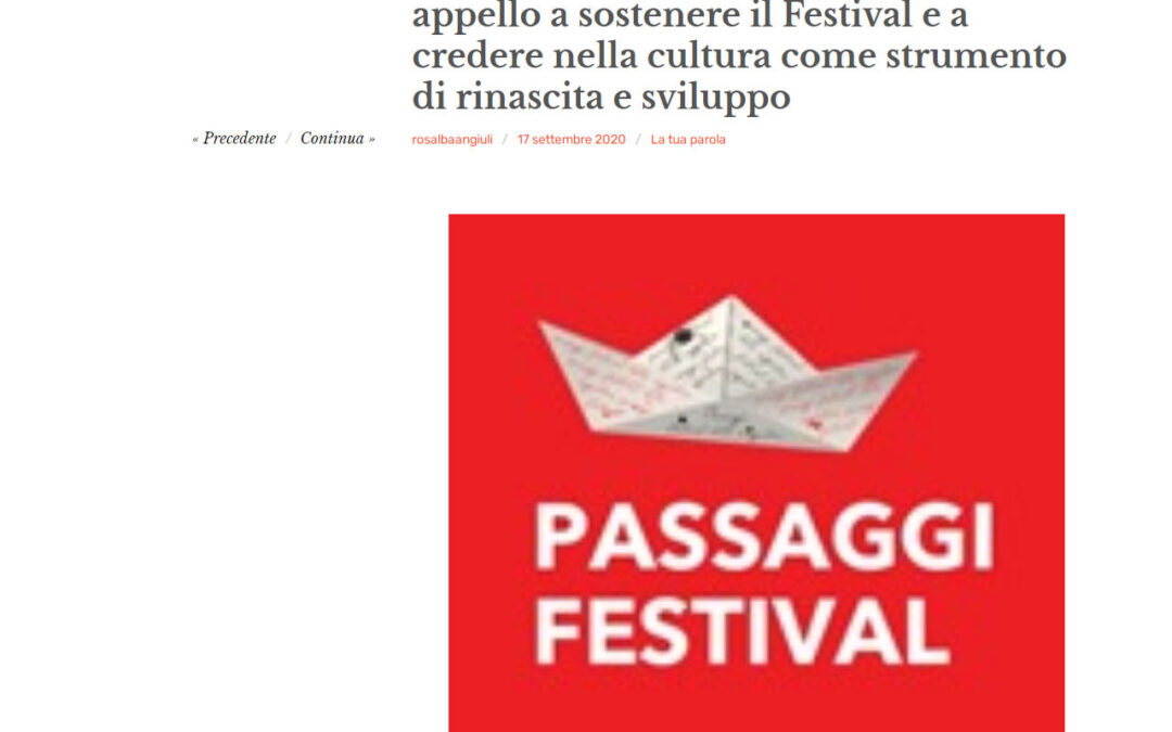 Pesaronotizie.com – Passaggi ai candidati regionali: un appello a sostenere il Festival