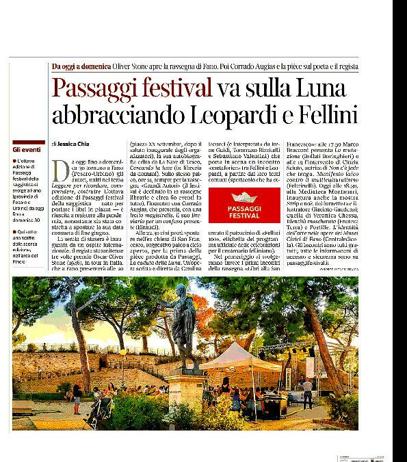 Corriere della Sera – Passaggi Festival va sulla Luna abbracciando Leopardi e Fellini