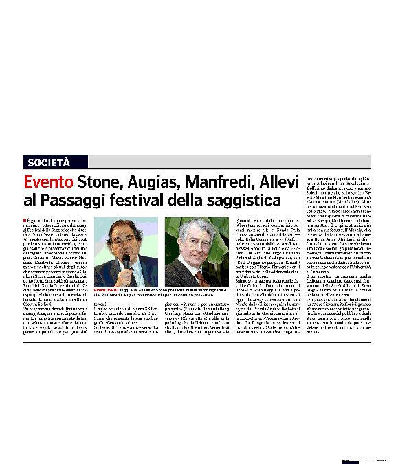 Gazzetta di Parma – Evento Stone, Augias, Manfredi, Allevi al Passaggi festival della saggistica