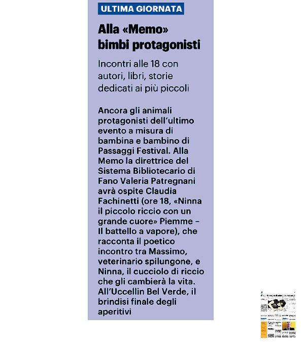 """Il Resto del Carlino – Alla """"Memo"""" bimbi protagonisti"""