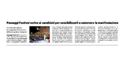 Il Resto del Carlino  – Passaggi Festival scrive ai candidati per sensibilizzarli a sostenere la manifestazione